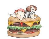 Got Buns Hon? - Illustration - pun - watercolor- Cheeseburger - curvy- foodie -burger- 5X7- print- Art - April Alayne