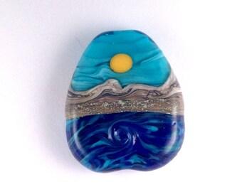 Twisting Blue Waves - Handmade Lampwork Glass Bead