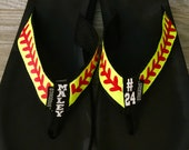 Custom Softball Flip Flops with player name and number