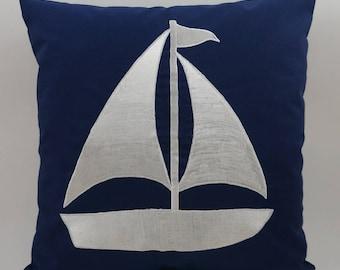 "Sailboat Pillow Cover, Embroidery, Nautical Pillow, Beach decor, Decorative Pillow, Accent Pillow, 18""x18"", Navy, Ready to ship"