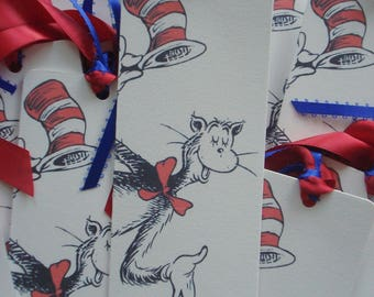 Cat in Hat Dr Seuss Baby Shower Bookmarks