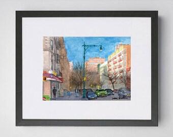 West 116th Street Harlem NYC Watercolor Painting Original Art Framed