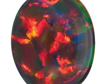 Oval Black Opal in 14kt gold Crown Design Setting, October Birthstone Ring