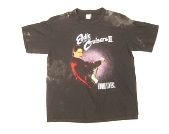 1989 Eddie and the Cruisesrs II Tee Vintage Retro 1980s Black Cotton Rock and Roll Movie Tour Promo Graphic T-Shirt Size Large/XLL