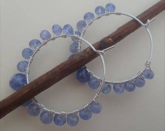 Beaded hoop earrings gemstone hoops tanzanite earrings tanzanite and silver wire wrapped hoops lavender hoop earrings lilac earrings
