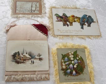 Vintage Victorian Fringed Greeting Cards Four Pieces