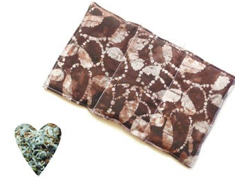Hot or cold pack, microwavable, aromatherapy, microwave heat pack, brown coffee batik, freezer cold pack, flax seed rice lavender buds