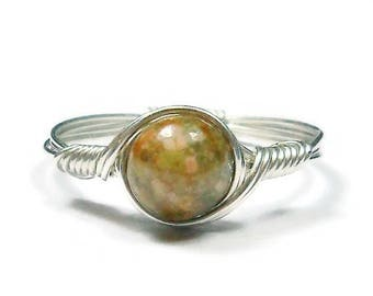 25% Off Sale Autumn Jasper Argentium Sterling Silver Wire Wrapped Ring Custom Sized