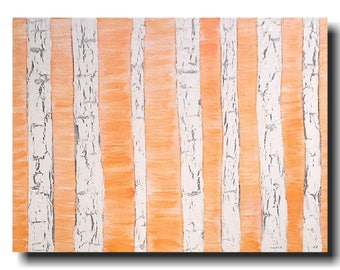 "Abstract painting Large orange  Landscape art on canvas by Artist JMJartstudio "" 18 X 24 "" birch trees wall art"