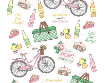Printable Retro PICNIC stickers!-Digital File Instant Download- summer, bicycle, lunch, bottled pop, fruit, bando, happy planner, hand drawn