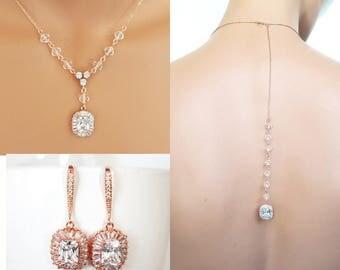 Rose gold Backdrop Wedding Necklace, Rose gold earrings, crystal necklace set,  Swarovski element Jewelry - Skylar