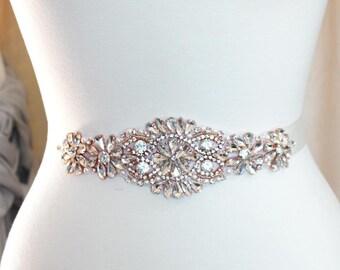 Crystal Sash Luxury rhinestone and pearls sash Bridal sash belt in gold, silver or rose gold - SS12