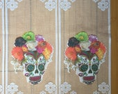 Day of the Dead Halloween Sugar Skulls Fabric Decoration Curtain Transparent Lace Gauze Banner Flag Panels