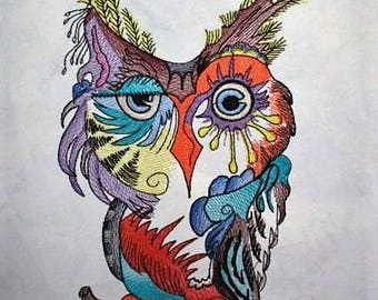 Woodland Owl Embroidered Quilt Fabric Block