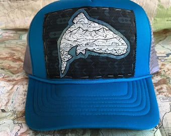 Trout and mountains trucker hat