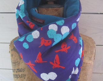 """Japanese fabric quilted blanket """"birds"""" blue bright turquoise organic hemp jersey scarf"""