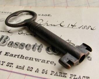 Large antique skeleton key, genuine bank vault key, refinished, 3 inches, dark, distressed, aged black patina, authentic vintage key