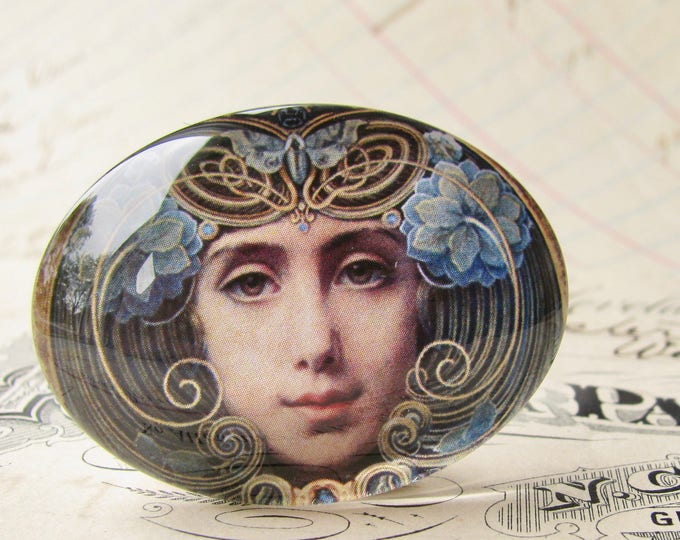 "Handmade glass cabochon - ""Mask"" - 40x30mm or 25x18mm oval, horizontal orientation, wide, woman face, blue, swirls, Art Nouveau collection"