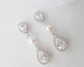 Crystal Bridal Earrings, Wedding Earrings, Wedding Jewelry, Swarovski Pearl Earrings, Teardrop, Bridal Jewelry, Wedding Necklace Set, Emma