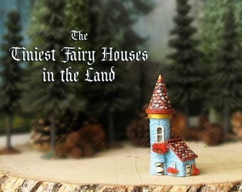 The Tiniest Fairy Tower in the Land - Hand-painted Polymer Clay Tower with Tiled Roof, Flower Box, Wooden Entry Door and Golden Accents