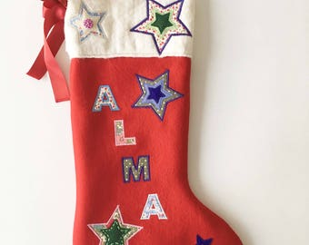 Luxury Christmas Stocking. Personalised with name.