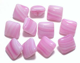 Lavender Pink and White Stripe Vintage Glass Buttons Slag Glass Style Lot 11