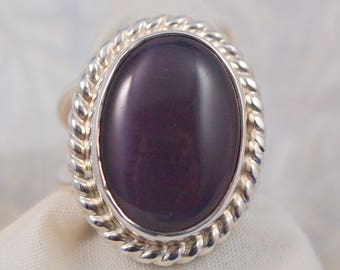 Purple Dale Stone Ring in Sterling Silver  Size 5 3/4