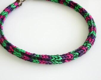 Knitted Cord Choker - Summer Choker- Textile Choker- Teen Choker - Simple Choker - Knitted  Jewelry - Textile Jewelry - Multi Color Choker