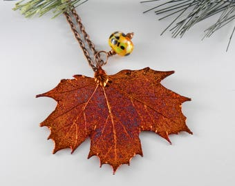 Iridescent Copper Electroplated Maple Leaf Pendant on 30 inch Long Chain, Real Leaf Necklace