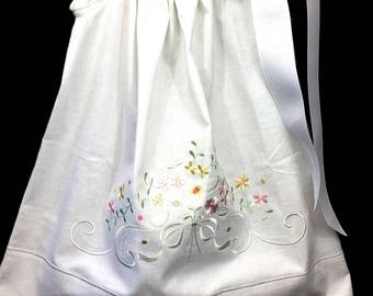 2T White Pillowcase Dress with delicate pastel floral embroidery