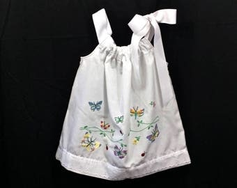 2T White Pillowcase Dress with bright butterfly embroidery