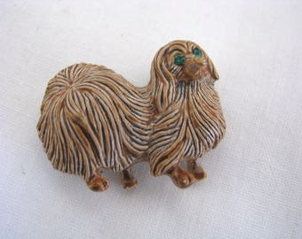 Vintage Gerrys Brown Pomeranian dog brooch pin with green eyes