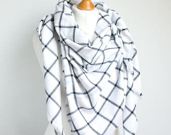 Blanket scarf WRAP, large cotton scarf, BLANKET plaid scarf in white colour,  fashion oversized scarf, fashion accessories, gift ideas