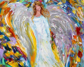 Angel Print on canvas made from image of past oil painting by Karen Tarlton -  Angel of Love in many Sizes