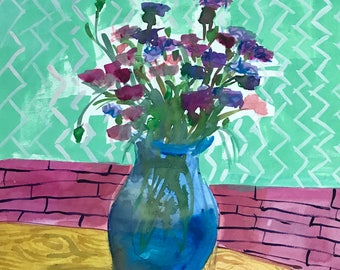 Cornflowers in Blue Vase Original Watercolor Painting by Angela Moulton