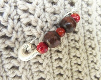 Red Sweater Pin - Red Beaded Shawl Brooch - Made in Australia