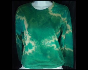Acid washed medium shirt STO Susquehanna Trail Outfitters long sleeve blouse bleached top acid wash blue green NOT tie dye (shirt no. 140)