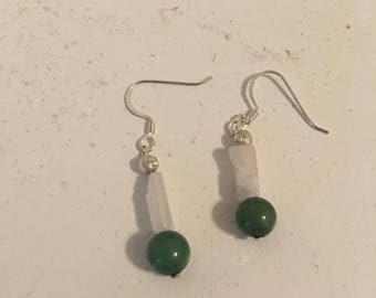 Silver, Quartz, and Jade earrings