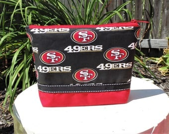 Large Cosmetic Case, Clutch, Gadget Bag, Accessory Pouch, San Francisco 49ers, NFL