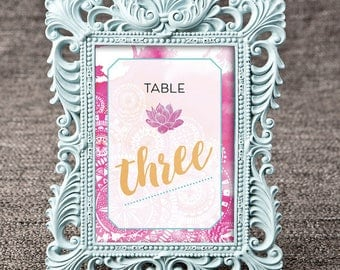 Table Numbers -  Boho Watercolor / Mandalas / Lotus Flower - Wedding / Bridal Shower / Baby Shower / Party / Event Stationery