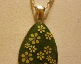 Great Green Petite Small Pendant with Lovely Little Yellow Flowers