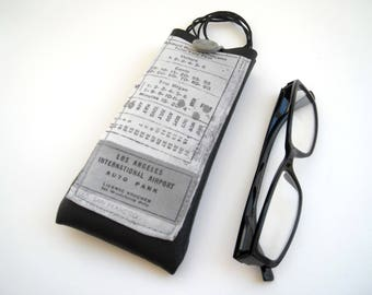 Lanyard neck eyeglass case, black faux leather eyewear holder, spectacles cover with pocket, text pattern fabric glasses case