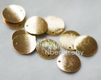 10pcs Brushed Gold Disc Circle Charms 15mm, 24K Gold plated Brass Round Coin Charms (GB-150)