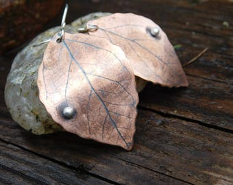 Imprinted Copper Leaf and Sterling Silver Dangle Earrings