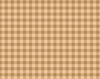 Tan and Cream Small Check Yarn Dye 100% Cotton Quilt Fabric for Sale, Kim Diehl's Helping Hands Collection, HEG6891Y-44