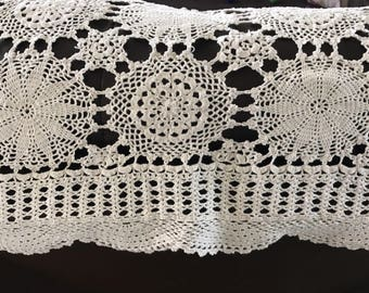 Vintage Small Square Doily Crochet Tablecloth Bed Cover