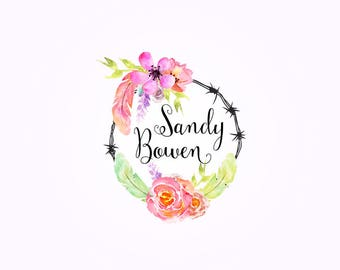Watercolor Logo, Watercolor Wreath, Wreath Logo, Logo Design, Photography Logo, Branding, Logo, Premade Logo, Watermark Logo, Floral Logo, .