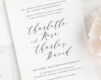 Charlotte Wedding Invitations - Deposit
