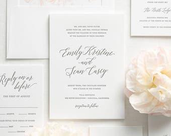 Garden Romance Letterpress Wedding Invitations - Deposit
