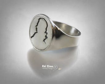 MOZART VIENNA  Portrait  Ring Solid Sterling Silver 925 By Ezi Zino